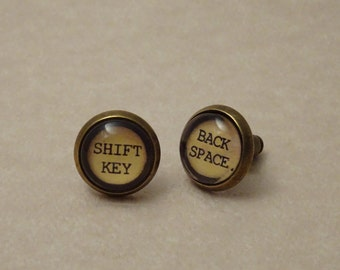 10mm Typewriter Key Stud Earrings, Mismatched Back Space and Shift Key, Set in Glass, # 2006