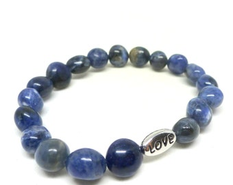 Blue Sodalite Nugget Gemstone Bead Bracelet with Silver Love Charm Bead