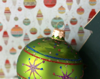 Vintage green glass christmas ornament decoration Poland