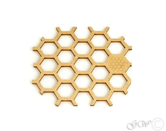 Wooded Coaster. Birch Coaster. Honeycomb Style