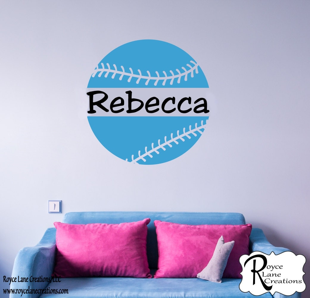 Softball decal with personalized name b15 sports vinyl wall zoom amipublicfo Choice Image
