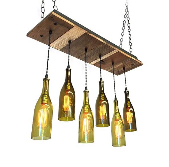 Dining chandelier reclaimed wood light fixture 6 wine - Wine bottle light fixture chandelier ...