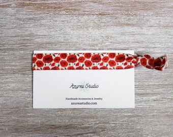 Poppies Red White Hair Tie