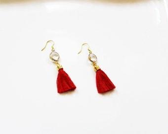 Red Clear Glass Tassel Earrings