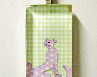 Trendy cat profile in checkers pendant and chain - CGP02-094