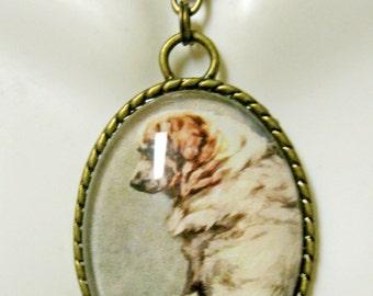 Pyranese Mountain Dog pendant with chain - DAP09-124