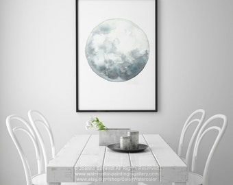 Full Moon Art, Luna Watercolor Painting, Blue Wall Decor, Gray Blue Moon Phase Abstract Print, Lunar Home Decor, Astronomy Phases Calendar