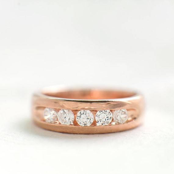 Sterling Silver Rose Gold Band Simple Wedding Band