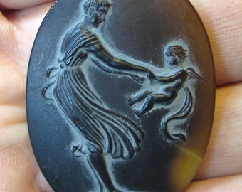 1 Vintage Mother and Child Glass Cameo, 2 finishes