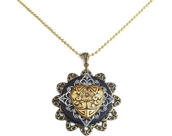 Victorian Heart  Necklace - Unique Heart Pendant - Heart Pendant - Unique Steampunk Jewelry - Steampunk Heart Necklace - Mothers Day Gift