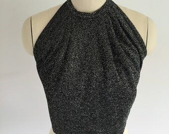 Vintage Sparkle Halter Top Black Size Medium