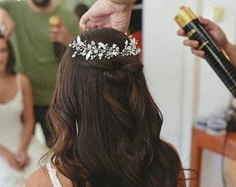 Bridal headpiece, pearl hair accessories, wedding hair piece, bride headband, bridal tiara, pearl hair comb, wedding tiara, flower vine