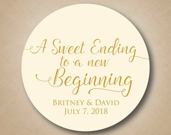 A Sweet Ending to a New Beginning Wedding Favor Stickers Custom Thank You Favor Labels Round Favor Tags Gold Ivory Welcome Bag Stickers