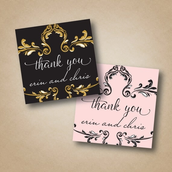 Favor Stickers Baroque Gold Labels Thank You Stickers Wedding Labels ...