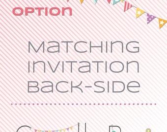 Matching Invitation Back side - digital invitation back