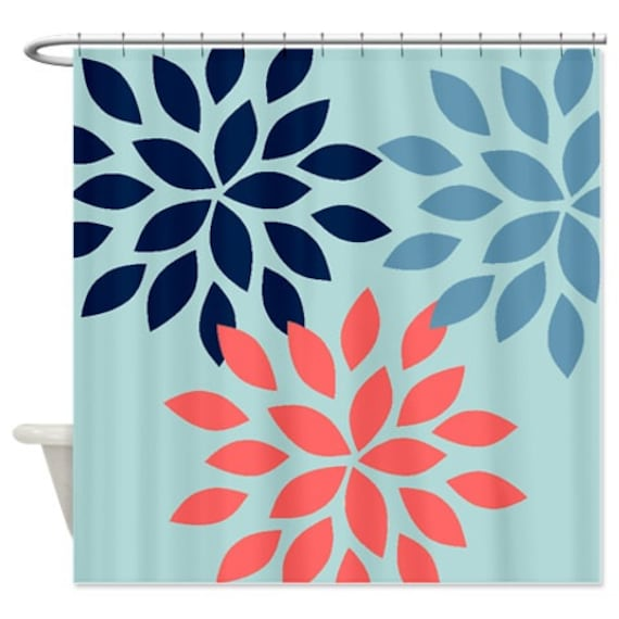 Dahlia Shower Curtain Blue Navy Coral Art By HLBhomedesigns