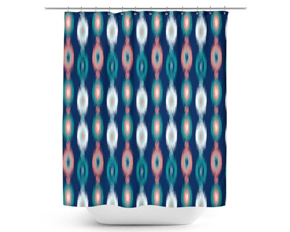 Ikat Shower Curtain Bath Curtain Navy Teal Aqua By HLBhomedesigns