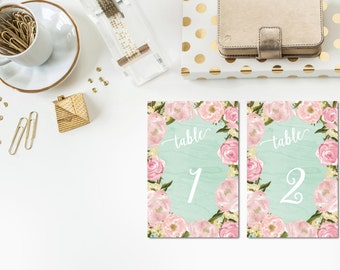 Mint + Blush Table Numbers 1-10