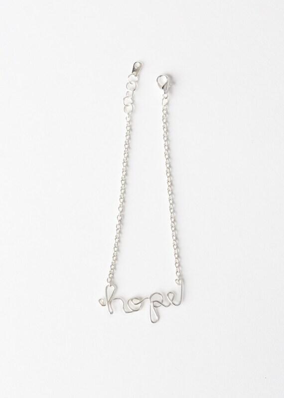 Hope Bracelet - Hope Wire Bracelet - Silver Wire Hope Bracelet - Wire Word Bracelet - Wire Jewelry - Hope Jewelry - Inspiration Bracelet