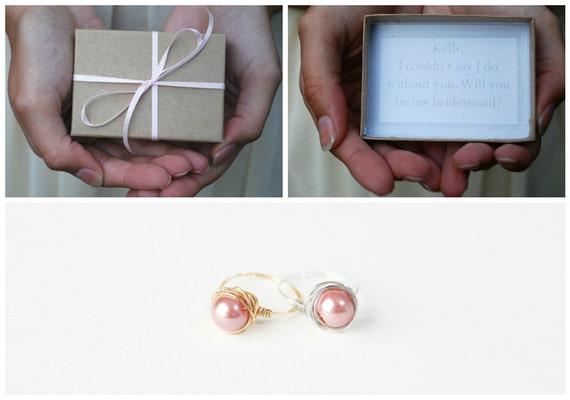 Bridesmaids Box - Will You Be My Bridesmaid - Bridesmaids Invitation Box - Maid of Honor Invitation Box - Bridesmaid Pearl Ring-Bridal Party