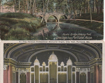 4 Early 1900's Portland, Maine postcards, Bridge in Deering Oaks Park, Park Entrance, Kotzschmar Memorial Organ, City Hall, Fort Allen Park