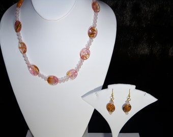A Lovely Cherry Blossom and Rose Quartz Necklace, Bracelet and Earrings. (201666)
