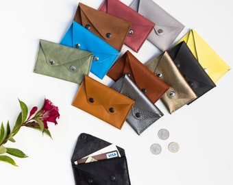 Leather card case. Leather business card holder. Leather credit card wallet. Envelop wallet. Leather card holder. Small leather wallet
