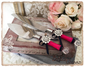 Cake Serving Set Cutting Set Knife Set Wedding Cake Serving Set Wedding Cake Server Set Navy and Fuchsia Cake Set