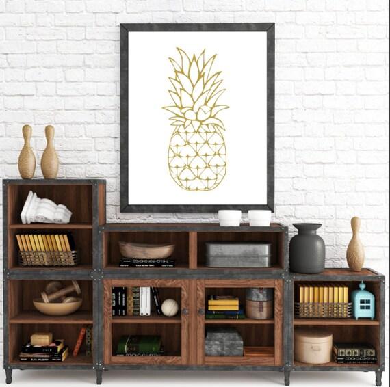 Gold Pineapple, Pineapple Wall Print, Yellow Wall Prints, Pineapple Wall Art, Printable Art, Yellow Home Decor, Digital Download, Printable