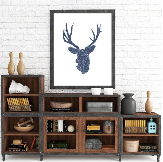 Modern Deer Antler, Deer Head Geometric, Scandinavian, Geometric Deer Poster, Blue Deer Print, Deer Head, Geometric Minimalist Blue, Print