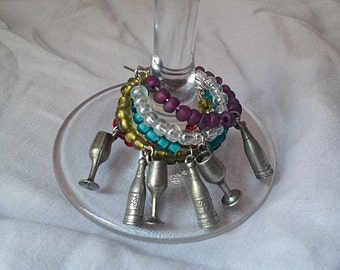 Set of 6 Wine Glass and Wine Bottle Wine Charms