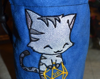 Dice Bag custom Embroidery blue Suede stripped Cat rolling D20
