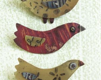 Bird Brooches handmade brass or copper