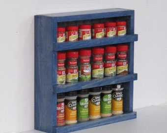 Rustic Wood Spice Rack, Wooden Spice Rack, Spice Cabinet, Spice Rack Wall  Or Counter Top ,Kitchen Shelf, Wood Shelf , Rustic Island Blue