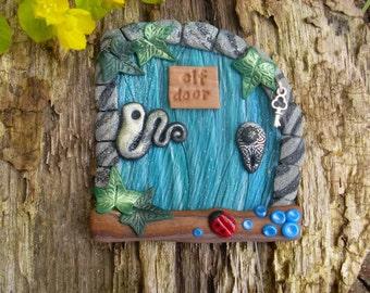 Blue/Green Elf Door with ladybird, silver key - Fairies portal of polymer clay- Magic Wooden Door for Pixies, Gnomes, Elves