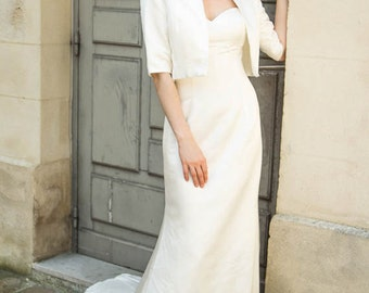 Wedding bolero with 3/4 sleeves Ivory satin/ Bridal shrug/ Bridal bolero jacket/ Evening /Bolero de mariée Alesandra Paris