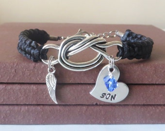 Son Memorial Angel Wing Crystal Birthstone Mothers Hand Stamped Love Knot Bracelet You Choose Your Birthstone Charm and Cord Color(s)