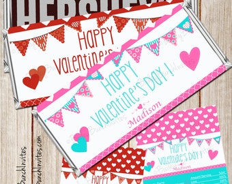 Valentine Hershey Bar Candy Wrappers, Valentines, Candy Wrappers, Hershey Wrappers, Valentine Wrappers, Valentine Party, Personalized