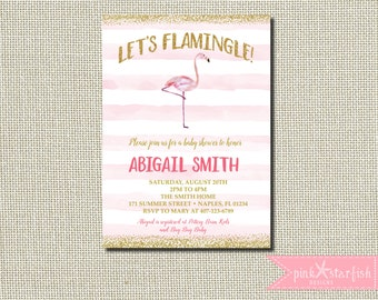 Flamingo Baby Shower Invitation, Flamingo Invitation, Baby Shower Invitation, Let's Flamingle, Glitter, Glam, Watercolor, Digital File