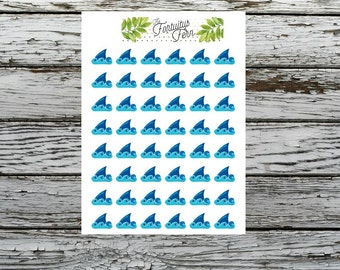 Shark fin planner stickers
