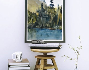 Forest Painting Watercolor Print,Woodland Art Print Watercolor Painting,Small Wall Art,Tree Art,Landscape Painting,Green Wall Art,Lake Print