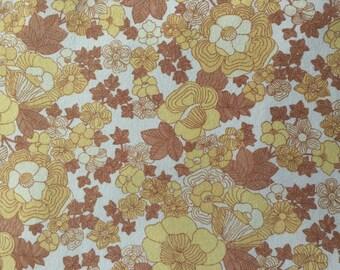 SALE- Vintage- Double Flat Sheet- Yellow Floral Design- Cotton
