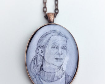 Jane Goodall Illustration Pendant Necklace