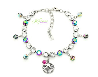 SHE SELLS SEASHELLS 8mm 39ss Crystal Anklet Made With Swarovski Elements *Antique Silver *Karnas Design Studio *Free Shipping*