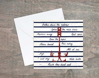 Anchor card, birthday card for men, blank greeting cards, nautical stationery, sailing, uk sellers only