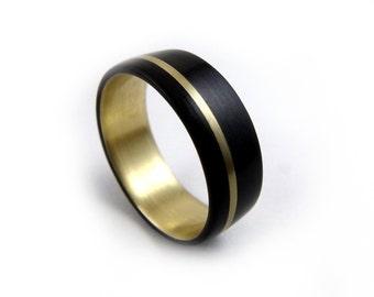 Naval Bronze Ring, Gaboon Ebony Ring, Exotic Wood Ring, Gold Wood Ring, Handmade Jewelry, Black Ring, Black Wood Ring, Black Gold Ring