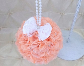 "Flower Ball Peach Wedding Pomander Satin Bow Choose Color Kissing Ball Flower Girl Bridesmaid 4"" Rose Bouquet Pearl Handle Free Hair Pin"