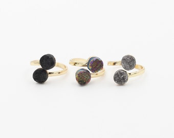 Open Druzy Rings -- Wholesale Drusy Gemstone Natural midi multistone guards signet solitaire bridesmaid jewelry supplies wholesale YHA-122