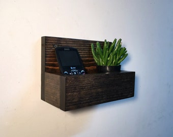 Rustic wall pocket, wood wall pocket, small wall shelf, wall organizer, wood wall shelf, cell phone holder, wall hanger, wall hanging