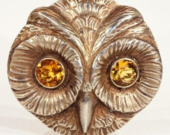 Vintage German Owl Brooch Pin in Silver Gilt